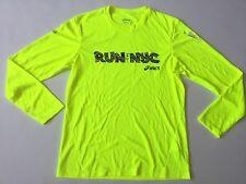 Asics Men's NY City Marathon Long Sleeve T-Shirt Running Training Yellow Size S