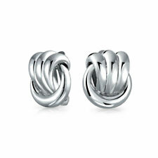 Rope Cable Knocker Love Knot Work Clip On Earring Ears Silver Plated