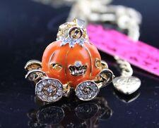 Betsey Johnson Necklace CARRIAGE Orange CINDERELLA Pumpkin Gold CRYSTALS