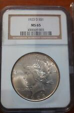 1923-D Peace Dollar $1 MS 65 NGC White