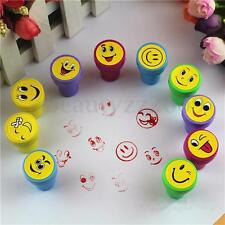 10Pcs Emoji Smile Smiley Face Stamps Set Stationery Kids Gift Party Favour Toy
