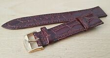 New 20mm Brown Croc Grain Genuine Leather Watch Strap G/P Buckle For Longines
