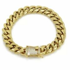 """Men Cuban Miami Link 10mm Thick Bracelet Stainless 8.5""""Gold Plated Diamond Clasp"""