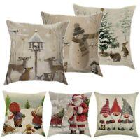18in Christmas Cotton Linen Pillow Case Sofa Car Cushion Cover Home Decoration
