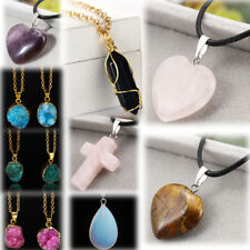 Women Necklace Natural Stone Water Drop Heart Cross Pendants Jewelry Earrings