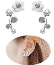Pearl Flower Ear Crawler EARRINGS Stud Ear Climber NEW Jewelry