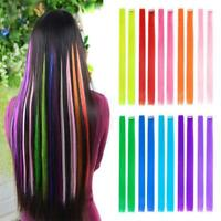 Long Multicolor Straight Single Clip Hairpieces Synthetic Hair Hair Extension
