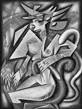NUDE , figurative digital cubist painting on canvas by Kaola Oty
