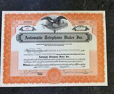 1936 Automatic Telephone Dialer Inc. Stock Certificate Delaware