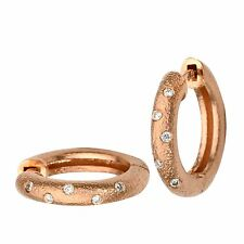14k brushed rose gold hammered diamond hoop click earrings 0.12ct round H/SI2