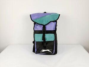 Retro 90's Slazenger Backpack School Gym Bag Colourblock Spellout Large Logo VTG