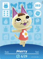Merry 252 Animal Crossing New Horizons Series 3 Card Authentic *MINT/NM*