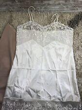 2 Farr West Silky Satin Full Slips Sz 38-40 White Lace