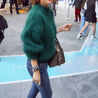 Women Faux Mohair Fur Sweater Fluffy Pullover Turtleneck Puff Sleeve Warm