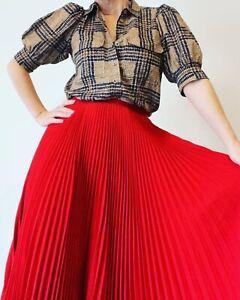 Vintage Crepe Wool Red Pleat Full Flare GUY LAROCHE France Midi Skirt 40