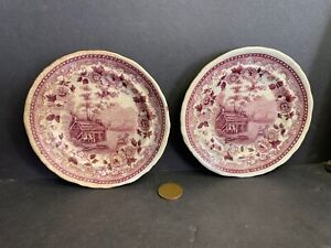 2 AMERICAN SCENERY Butter Pats, Jackson's Warranted, Soft Past Transfer Dishes
