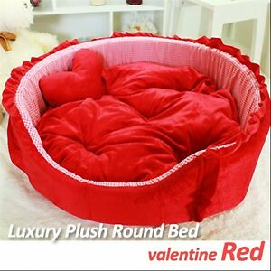 Luxury Pet Bed- Valentine Red Large Round Plush Supersoft Cuddly Bed Dog/Cat