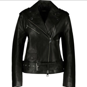 KARL LAGERFELD Designer Black Leather Biker Jacket Oversized