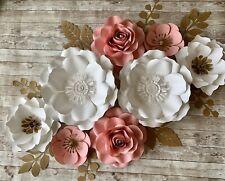 Large Paper Flowers set , Backdrop, Wedding, Nursery Decor , Pink & White