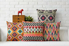 Colorful Aztec geometric diamond zigzag triangle Cushion Cover throw pillow Case