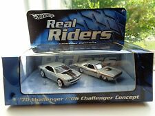 1970 DODGE CHALLENGER & 2006 CHALLENGER CONCEPT REAL RIDERS HOTWHEELS NEW