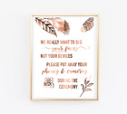 Unplugged ceremony // wedding signs // copper wedding // camera sign // prints