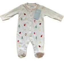 Jojo Maman Bebe 0-3 Months Babygrow Christmas White Embroidered Velour Sleepsuit