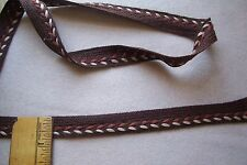 Vtg Cotton Herringbone Woven braid lace trim Doll Dress Cape Coat Millinery