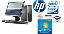 "FAST HP Powerful HP Elite Quad Core 1 TB HDD 8GB Ddr2 19"" Monitor Wi-Fi Window 7"