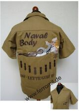US Army Naval Body USN Leyte Gulf 1944 Nurse Nose Art Tour Shirt WK2 Gr XL Khaki