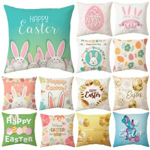 "18"" Happy Easter Rabbit Bunny Cushion Cover Pillow Case Home Sofa Car Bed Decor"