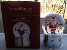 REED & BARTON Jolly Santa Musical Snowglobe Snow Globe Snowdome New In Box