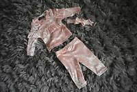 Babies Girls Crushed Velour Frill Lounge Suit Tracksuit 3 piece set Pink 3-36 M