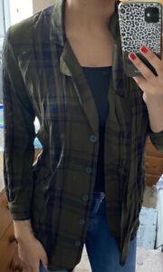 Zara Long Khaki Black Check Shirt Size S