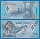 Cook Islands 3 Dollars P New 2021 UNC Polymer, AA Prefix Low Ship! Combine FREE!