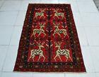3 x 4'10 Handmade vintage afghan tribal best animal design wool persian area rug