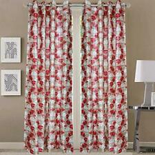 New 2 Piece Fancy Design Maroon Floral Leaf Polyester Eyelet Window Curtain 5 ft