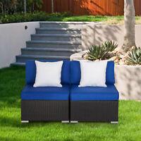 2 PCs Patio Rattan Loveseats Sofa Wicker Outdoor Thick Cotton Furniture Set