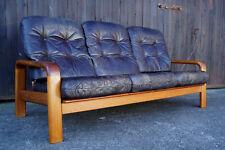 60er Teak Sofa Danish 3er Retro Couch Vintage Leder braun Juhl Jalk Wanscher Ära