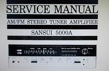 SANSUI 5000 A Stéréo Tuner service Amp Manuel Inc Schm diag Imprimé Bound anglais