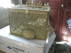 DIY Gold Glitter Wedding Card Box with Lock Wood Gift Card Box Holder Money Box