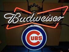 Budweiser Beer Chicago Cubs Wrigley Baseball Neon Light Up Bar Sign New