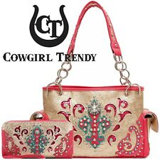 Fleur de Lis Concealed Carry Purse Western Shoulder Bag Women Handbag Wallet