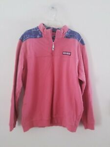 Vineyard Vines L/S Coral & Blue Nautical 1/4 Zip Pullover Shirt Sz L +