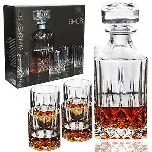 5-tlg Whisky Karaffe & Gläser Set Gläserset Trinkgläser Trink-Glas Whiskey Likör