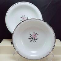 "Noritake Rosales 5790 Coupe Soup Bowls Set of 2 White Pink Rose Platinum 7.5"""