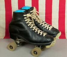 Vintage Hyde Black Leather Rollerskates Chicago Skate Plates Chicago 76 Wheels 9