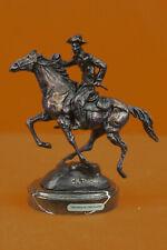 Bronze Sculpture Western Cowboy Rider Horse Figurine Art Statue Room Collector