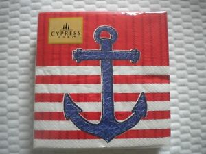 40 CYPRESS HOME Cocktail paper napkins ANCHOR THEME 3 ply
