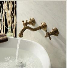 3pcs Wall Mounted Antique Brass Bathroom Basin Sink Faucet Bath Tub Mixer Tap